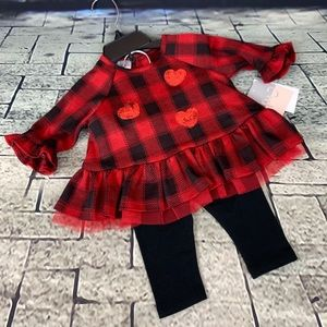 Pippa & Julie Plaid Sequin Heart Tunic & Leggings